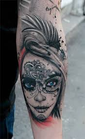 cool arm sleeves tattoos cool catrina with wings tattoo on arm sleeve