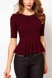 shirts and blouses pleated half sleeve peplum blouse womens shirts
