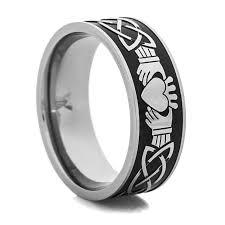 rings titanium black images Men 39 s black and silver claddagh ring titanium buzz jpg
