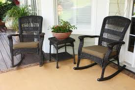 Desig For Black Wicker Patio Furniture Ideas Great Outdoor Patio Furniture With Three Grey Wicker Rocker