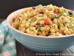 creamy avocado bacon pasta salad with dill dressing serena bakes