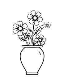 flower vase drawing with colour how to draw flowers and leaves in