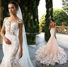 blush mermaid wedding dresses 2017 sheer bodice lace