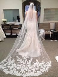 chapel wedding dresses gorgeous appliques lace chapel wedding veil tbdress com