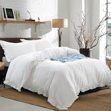 Cotton Queen Duvet Cover 3 Piece Washed Cotton Queen Size Duvet Cover Set White U2013 Ntbay