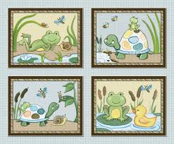Frog Nursery Decor Pond Friends Set Of Four 8x10 Wiggle Bugs Frog Turtle Nursery