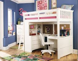 white lacquer teak wood loft bed for room with desk and