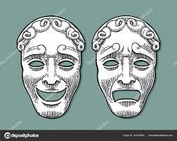 vintage masks comedy and tragedy theater masks vector engraving vintage black