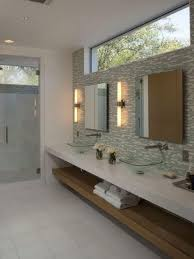 Square Wall Sconce Modern Bathroom With Square Wall Sconces And Vessel Sink