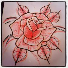 neo traditional rose outline and spiderweb tattoos