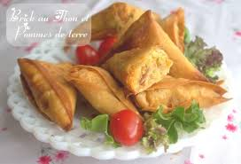 cuisine feuille de brick bricks aux pommes de terre et thon entrée du ramadan amour de