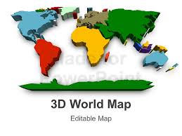 3d world map editable powerpoint slide