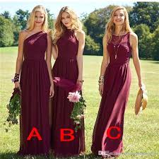 2017 burgundy long bridesmaid dresses mixed neckline beach chiffon