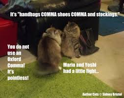 Oxford Comma Meme - commas in a series sidney bristol author cats 01 oxford comma
