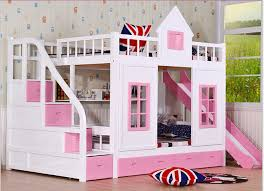 Bunk Beds Pink Children Bunk Bed Wooden 2 Floor Ladder Ark With Slide Bed Pink