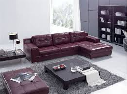 dark maroon leather l shape sectional sofa set with black center