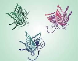 three butterflies japanese stencil design from stencil kingdom