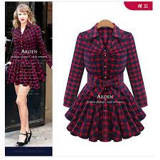 plaid dress fashion brand new lapel sleeve t shirt dress
