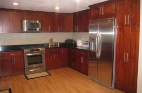 Dark Cherry Wood Kitchen Cabinets by Kitchen Simple And Neat L Shape 10x10 Kitchen Design Ideas Using