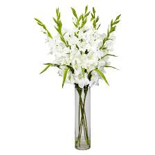 Bouquet Of Flowers In Vase Nearly Natural Large Gladiola W Cylinder Vase Silk Arrangement
