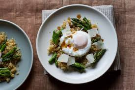 Asparagus Dishes Main Course - poached egg with crunchy quinoa and brown butter asaparagus