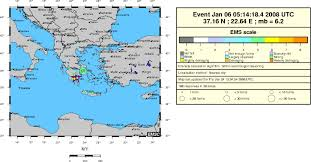 Greece On World Map by Mw 6 2 Earthquake Leonidio Greece On January 6th 2008 At 05 14 Utc