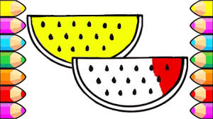 coloring pages how to draw red and yellow watermelon slices