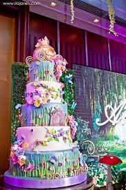 fairy garden cake from an enchanted garden princess birthday party