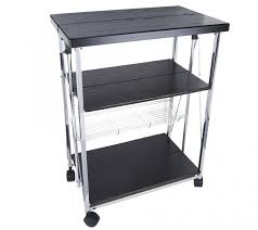 glittering folding island kitchen cart qvc with black plastic bed