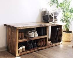 Shoe Storage Bench 48 Shoe Rack Bench With Boot Cubby Two Tone Cloudburst Shoe