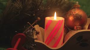 red striped christmas candle with ornaments stock footage video
