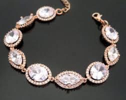 rose gold crystal bracelet images Crystal bridal bracelet rose gold bracelet bridesmaid jpg