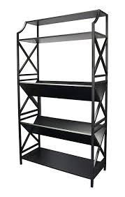 amazon com 5 shelf metal bookcase with 2 shelves on a slant v