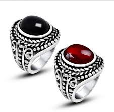 mens rings ruby images Vintage 316l stainless steel ring cool inlay ruby rings for men jpg