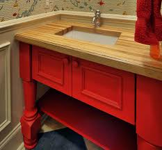 countertops country kitchen design with red cabinet and wood