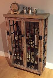 Distressed Wood Bar Cabinet Liquor Cabinet Rustic Iron And Wood With Distressed