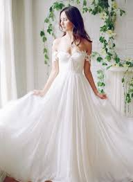 wedding dres picture of flowy the shoulder wedding dress with floral straps