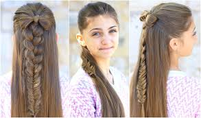 half up bow combo cute girls hairstyles youtube