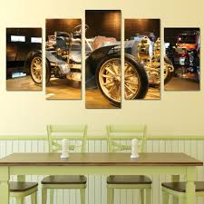 framed abstract modern home decor canvas print 5 panel cool car