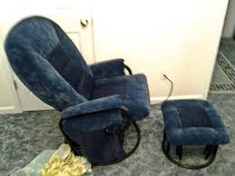 high back glider rocker recliner two tone blue suede