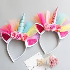 princess party headband elastic flower lace unicorn horn headdress