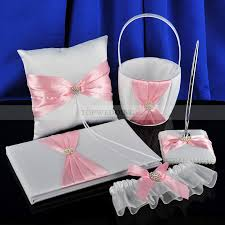 guest book and pen set pink bow design featured satin ring pillow basket guest book and