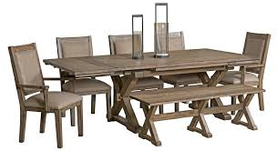 7 pc dining room set furniture foundry seven rustic dining set with bench