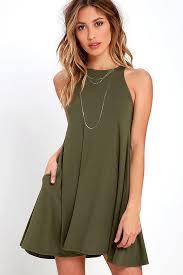 honey clothing chic olive green dress sleeveless dress trapeze dress 38 00