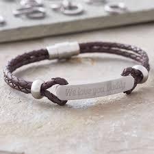 mens personalized bracelet men s personalised plaited leather id bracelet by hurleyburley