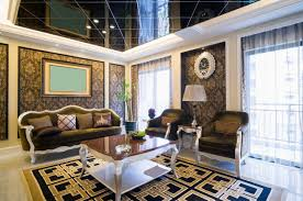 Gold Living Room Ideas with Black Textured Ceiling For Impressive Living Room Ideas Using