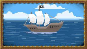 pirates ship sea pixels pixel art clouds sailing ship