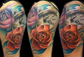 rose flowers and clock tattoo design for shoulder