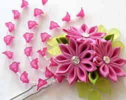 kanzashi hair pin yellow kanzashi fabric flower hair fork yellow kanzashi
