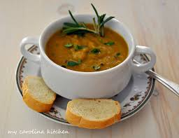 my carolina kitchen split pea soup flavored with ham and rosemary